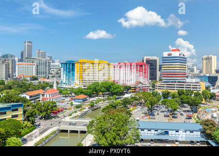 Cityscape view of Rochor Canal area and Rochor Centre, Singapore - Stock Photo