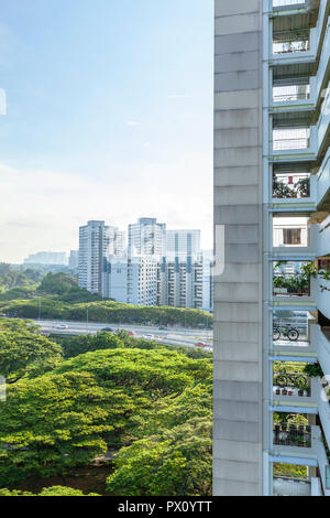 Cityscape view of HDB Public Housing in Marine Parade New Town of Singapore - Stock Photo
