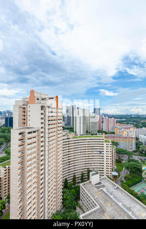 High-density HDB Public housing estate in Toa Payoh New Town, Singapore - Stock Photo