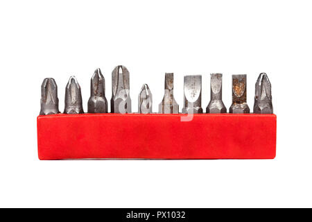 Drill bit holder collection in a red case isolated on white background, closeup, frontal view - Stock Photo