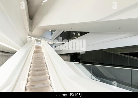 Interior view of the Jockey Club Innovation Tower, a building of the Hong Kong Polytechnic University, Hong Kong. - Stock Photo
