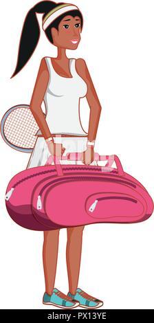 woman playing tennis avatar character vector illustration design - Stock Photo