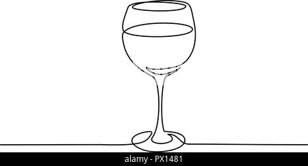 Continuous one line drawing. Wine glass. Vector illustration - Stock Photo