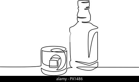 Continuous one line drawing. Bottle and glass of whiskey with ice. Vector illustration - Stock Photo