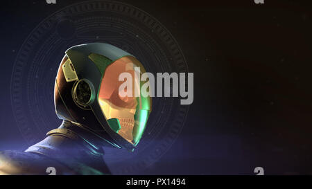 glowing dead skull astronaut in spacesuit and helmet. On dark background with stars and flares 3d render halloween music poster concept - Stock Photo