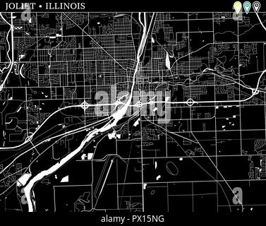 Simple map of Joliet, Illinois, USA. Black and white version for backgrounds. This map of Joliet contains three markers who are grouped and can be mov - Stock Photo