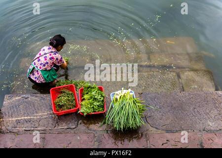 FENGHUANG, HUNAN, CHINA - 8JUL2018: Woman washing vegetables in the Tuojiang River. - Stock Photo