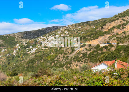 Aerial street and houses panoramic view at Makrinitsa village of Pelion, Greece - Stock Photo