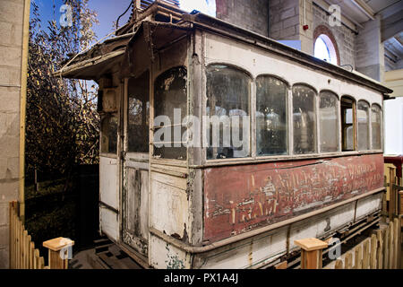 19th century tram at Crich Tramway Museum in the village of Crich, Derbyshire, UK - Stock Photo