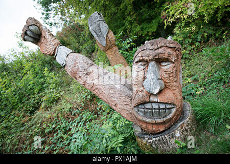 A Wood carving at Crich Tramway Museum in the village of Crich, Derbyshire, UK - Stock Photo