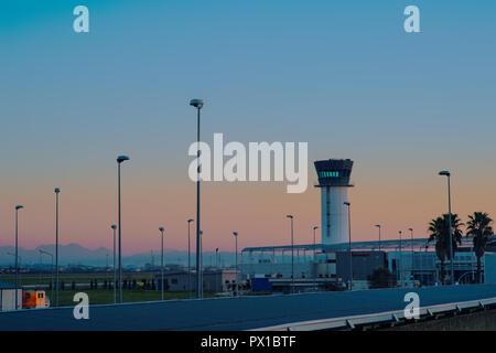 Tirana, Albania - December 2014: Tirana International Airport Nene Tereza, commonly Rinas International Airport - Stock Photo