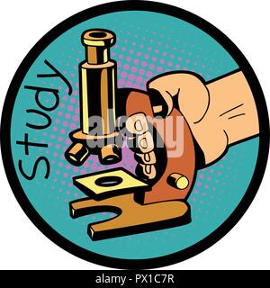 study science microscope symbol - Stock Photo
