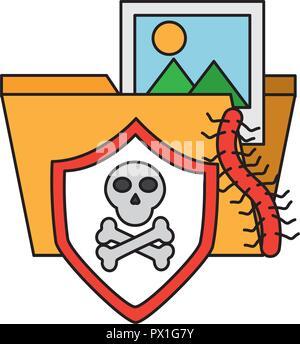 folder file skull virus cyber security data vector illustration - Stock Photo