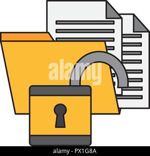 open padlock folder files cyber security data vector illustration - Stock Photo