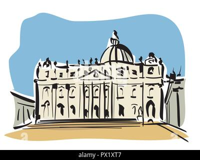 vector illustration of the St. Peter's Basilica,in Rome - Stock Photo