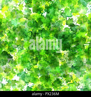 A seamless pattern with vibrant green watercolor drawings of shamrocks, Irish clovers, on a white background - Stock Photo