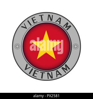Round metal medallion with the name of the country of Vietnam and a round flag in the center - Stock Photo