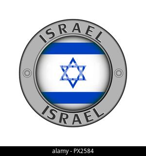 Round metal medallion with the name of the country of Israel and a round flag in the center - Stock Photo