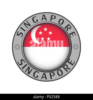 Round metal medallion with the name of the country of Singapore and a round flag in the center - Stock Photo