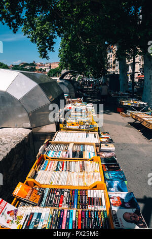 Secondhand booksellers book stand and market of the Quai de la Pecherie on Saone river banks in Lyon, Lyon, France, 2018 - Stock Photo