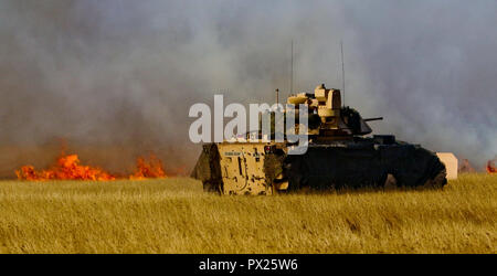 U.S. Soldiers assigned to 2nd Battalion, 5th Cavalry Regiment, 1st Armored Brigade Combat Team, 1st Cavalry Division maneuvers an M2A3 Bradley Fighting Vehicle at a training range in Smardan, Romania during Justice Sword, a multi-national training event designed to build interoperability between U.S. and NATO forces, October 15, 2018. The 2-5 CAV is deployed to Europe in support of Atlantic Resolve, an enduring exercise between U.S. and NATO forces. (U.S. Army National Guard photo by Spc. Hannah Tarkelly, 382nd Public Affairs Detachment/ 1st ABCT, 1st CD/Released) - Stock Photo