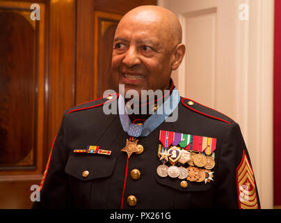 Retired U.S. Marine Corps Sgt. Maj. John L. Canley, the 300th Marine Medal of Honor recipient, attends a reception after the Medal of Honor ceremony at the White House in Washington, D.C., Oct. 17, 2018. From Jan. 31, to Feb. 6 1968 in the Republic of Vietnam, Canley, the company gunnery sergeant assigned to Alpha Company, 1st Battalion, 1st Marines, took command of the company, led multiple attacks against enemy-fortified positions, rushed across fire-swept terrain despite his own wounds and carried wounded Marines into Hue City, including his commanding officer, to relieve friendly forces wh