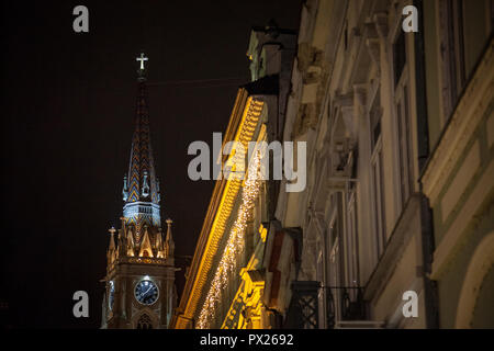 The Name of Mary Church, also known as Novi Sad catholic cathedral during the evening. This cathedral is one of the most important landmarks of Novi S - Stock Photo