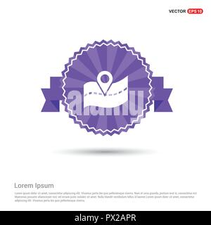 Web Map pointer - Purple Ribbon banner - Stock Photo
