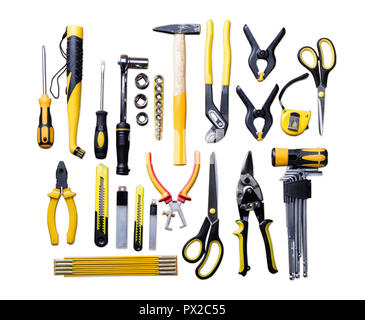 Elevated View Of Various Construction Tools On White Background - Stock Photo