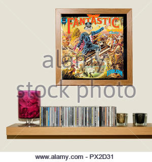 CD Collection and framed Elton John 1974 album Captain Fantastic and the Brown Dirt Cowboy, England - Stock Photo
