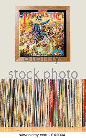 LP Collection and framed Elton John 1974 album Captain Fantastic and the Brown Dirt Cowboy, England - Stock Photo