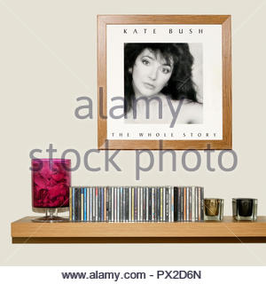CD Collection and framed Kate Bush 1986 album The Whole Story, England - Stock Photo