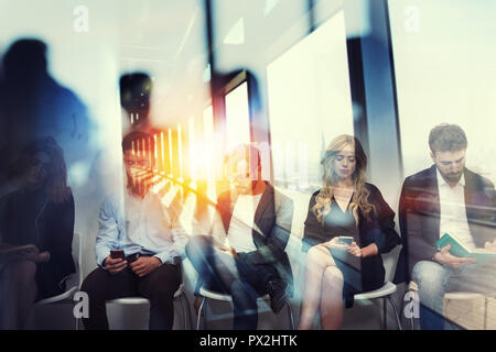 Young candidates waiting for an interview for a job. Concept of recruitment ad career. Double exposure effects with a glass window - Stock Photo