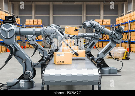 Automatic warehouse with robotic arms, 3D rendering - Stock Photo
