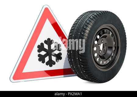 Car wheel with winter studded snow tire and beware of ice or snow, road sign. 3D rendering - Stock Photo