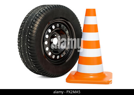 Punctured car wheel with traffic cone. 3D rendering - Stock Photo