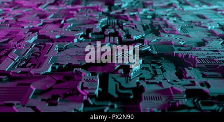 Dark Modern Hi-Tech Alien Artificial Intelligence Technology Concept Realistic Electric Computer Chip Detailed Metal Board  With Purple And Blue Neon  - Stock Photo