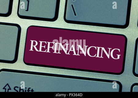 Handwriting text writing Refinancing. Concept meaning Finance again with new loans at a lower rate of interest. - Stock Photo