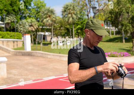 BANGKOK, THAILAND MARCH 28, 2017: Senior tourist man traveling a - Stock Photo