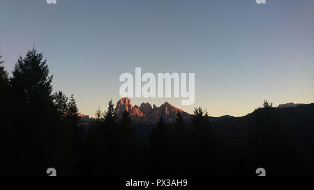 Red Sunset in the Dolomites - Stock Photo