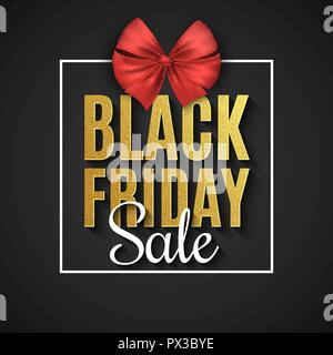 Black Friday Sale. Big discounts. Web text banner. Gift box with bow. Text with golden glitters on a dark background. Vector illustration. EPS 10 - Stock Photo