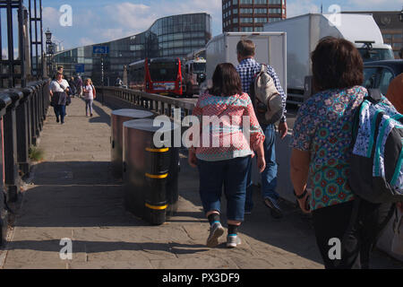 Pedestrian safety barriers on London bridges - Stock Photo