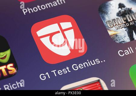 London, United Kingdom - October 19, 2018: Screenshot of the G1 Test Genius Ontario mobile app from Elegant eLearning icon on an iPhone. - Stock Photo