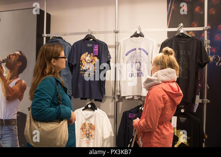 London UK. 19th October 2018. A  Queen pop-up shop  has opened in Carnaby Street ahead of  the upcoming release of the movie 'Bohemian Rhapsody', based on the careers of the iconic British Rock band. The shop sells  Queen memorabilia including, stage costumes  and signed musical instruments . Credit: amer ghazzal/Alamy Live News - Stock Photo