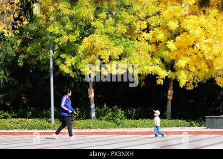 Qingdao, China's Shandong Province. 17th Oct, 2018. People visit the Shuangzhu Park in Qingdao, east China's Shandong Province, on Oct. 17, 2018. Credit: Wang Peike/Xinhua/Alamy Live News - Stock Photo