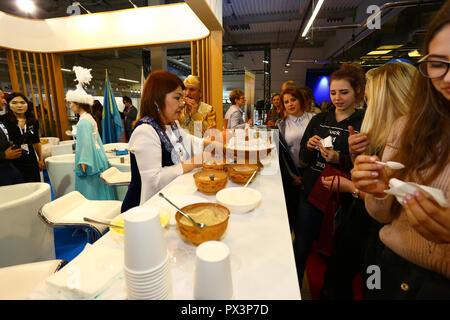 Nadarzyn, Poland, 19th October 2018: Kazakhstan stand at World Travel Show, PTAK Expo center.  ©Jake Ratz/Alamy Live News - Stock Photo