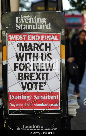 London, UK. - 19 October 2018: Poster advertising the London Evening Standard newspaper, which is calling for a new Brexit vote on the day before a large people's vote march in central London.. Credit: Kevin J. Frost/Alamy Live News - Stock Photo
