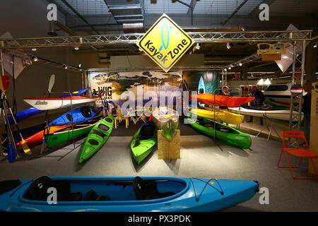 Nadarzyn, Poland, 19th October 2018: Kayak sports stand at World Travel Show. ©Jake Ratz/Alamy Live News - Stock Photo