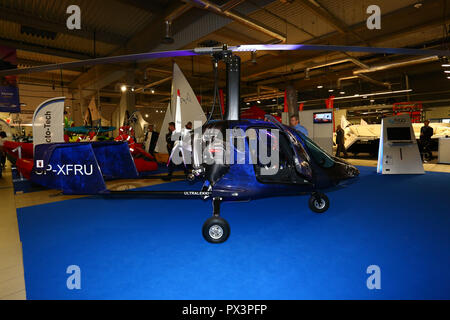 Nadarzyn, Poland, 19th October 2018: Ultra light helicopter presented at World Travel Show. ©Jake Ratz/Alamy Live News - Stock Photo