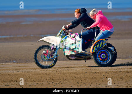 Weston Super Mare, UK. 19th Oct 2018. Getting ready for the Annual weekend bike race on the sands at Weston Super Mare in the UK. Robert Timoney/Alamy/Live/News - Stock Photo